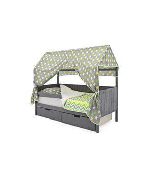 Кроватка-домик мягкий с бортиком и ящиками