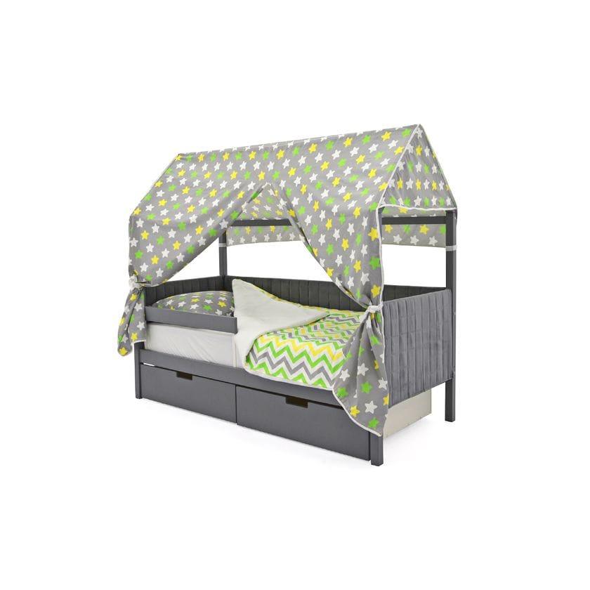 Кровать домик мягкий с бортиком и ящиками