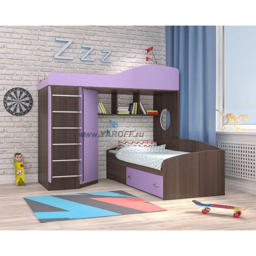 Двухъярусная кровать Кадет 2 с металлической лестницей, Бодего/Ирис (Ярофф)