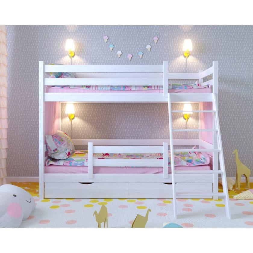 Двухъярусная кровать Сонечка с ящиками и защитой по центру