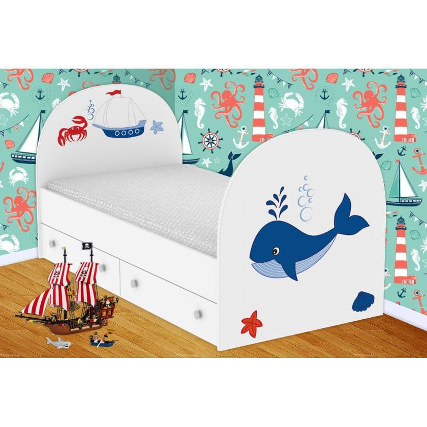 Детская кровать Кит с ящиками