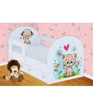 Детская кровать Котенок с ящиками