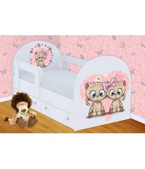 Детская кровать Котята с ящиками