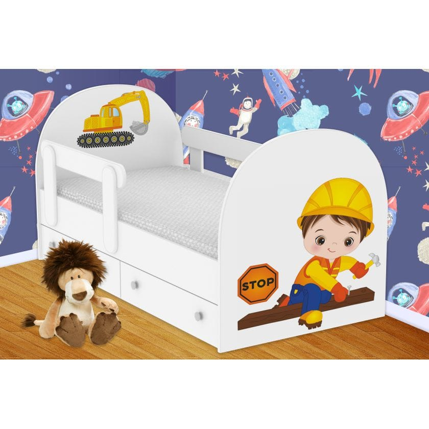Детская кровать Строитель  с ящиками