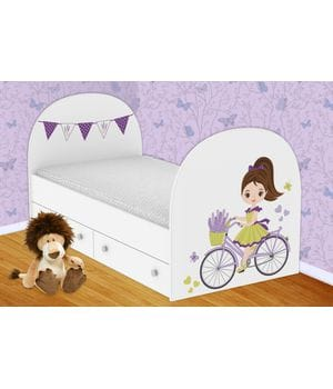 Детская кровать Велосипедистка с ящиками
