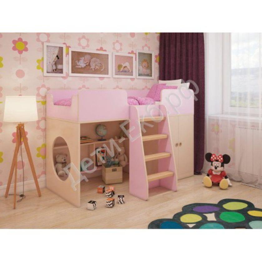"""Игровая кровать-чердак """"розовая"""""""
