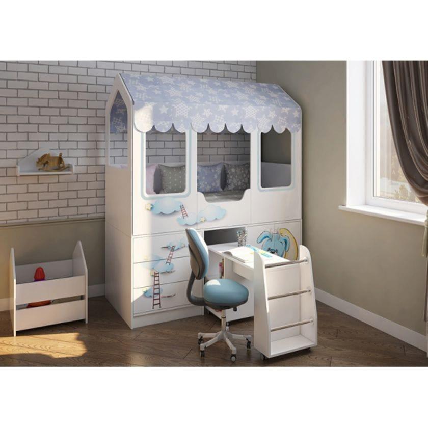 Кровать домик Сказка с выдвижным столом