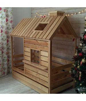 Кровать домик с крышей и окошком