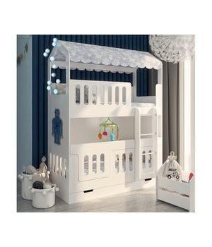 Двухъярусная кровать домик Сказка со сплошным бортом