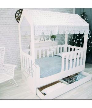 Детская кровать-домик с ящиками белый