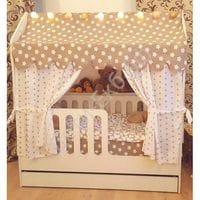 Детская кровать-домик с ящиками розовый