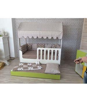 Детская кровать-домик двухъярусная выкатная