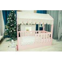 Детская кровать-домик розовый