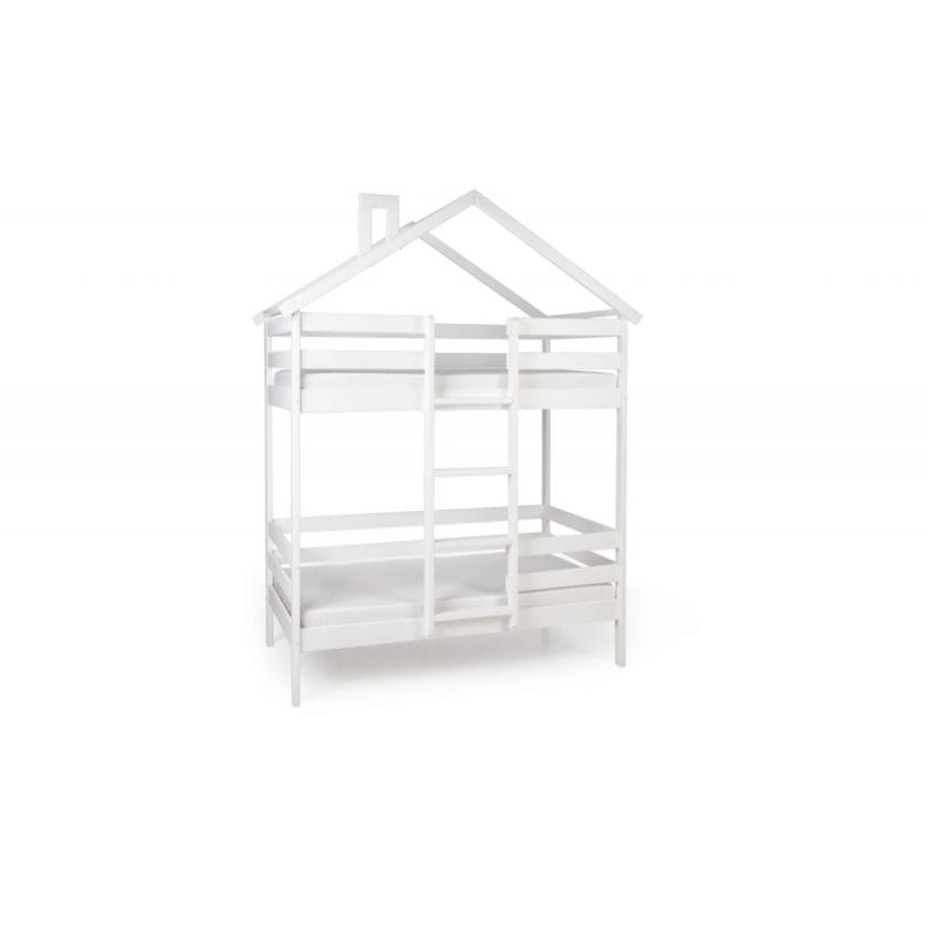 Двухъярусная кровать-домик Scandi Hut с бортиком (лестница по центру)