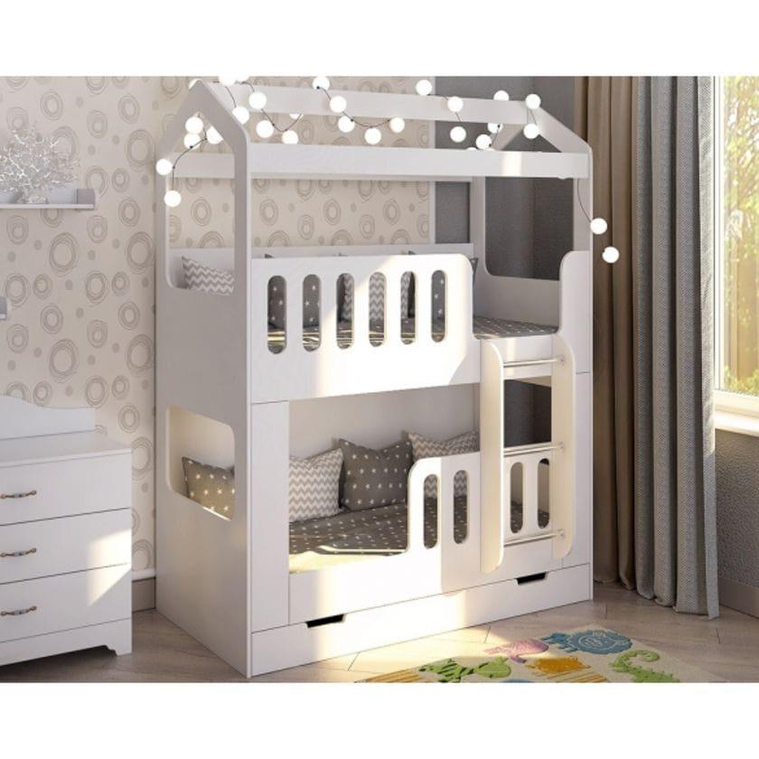 Двухъярусная кровать домик Сказка