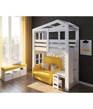 Кровать домик с открытой нишей Сказка