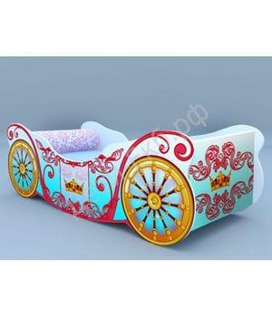 Кроватка-карета Корона голубая
