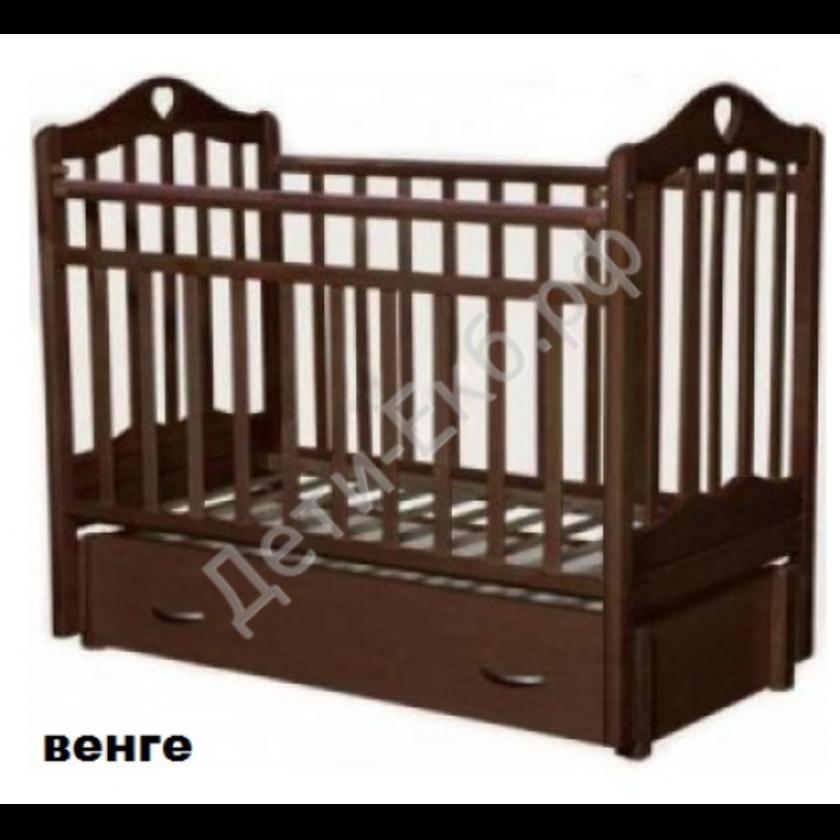 """Кровать детская """"Каролина-4""""маят.поп.+зак.ящ,качалка (венге)"""