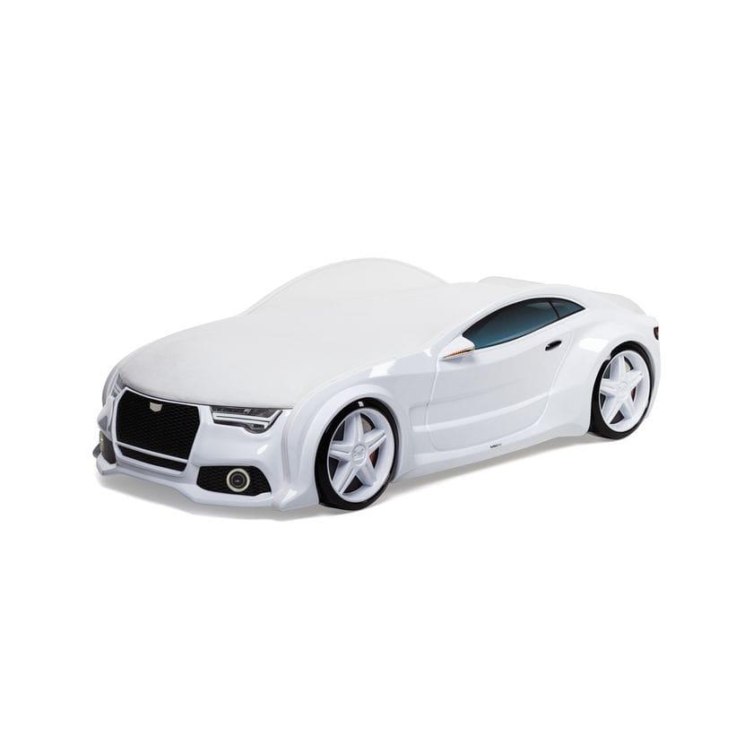 Кровать машина объемная Neo Ауди 3D белый