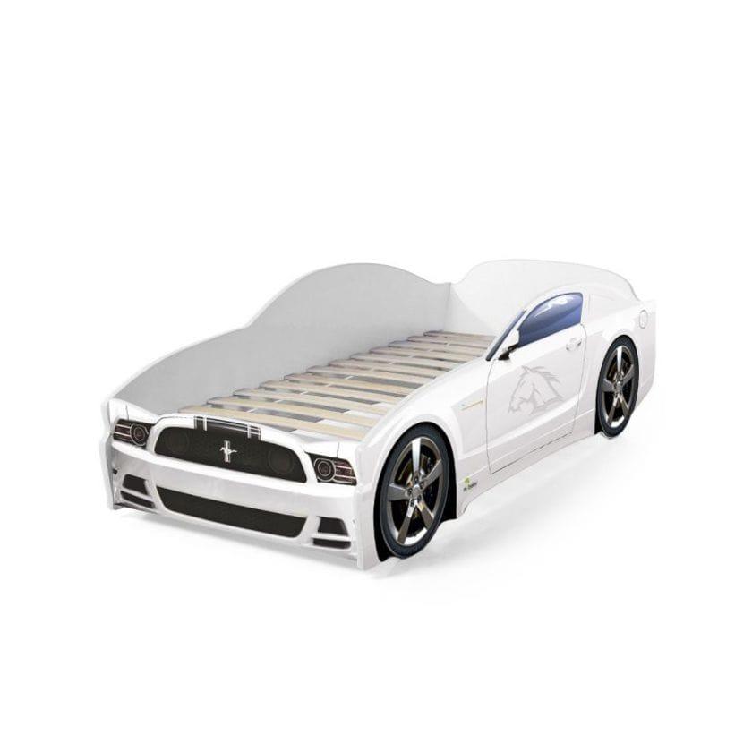 Детская кровать-машина Мустанг белый