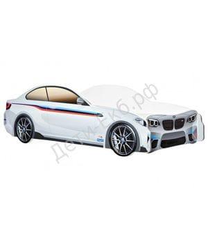 Кровать-машина BMW белая из лдсп