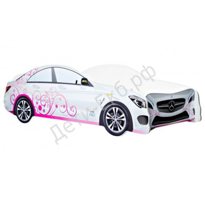 Кровать машина Mercedes-Benz белый с розовым