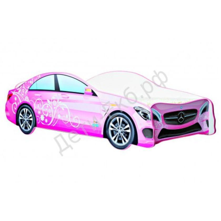 Кровать машина Mercedes-Benz розовый