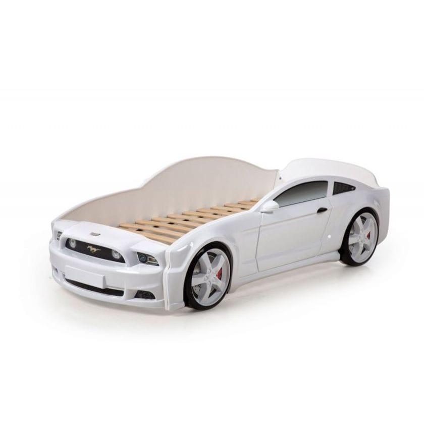 Кровать-машина Мустанг 3D (объемная пластиковая) белая