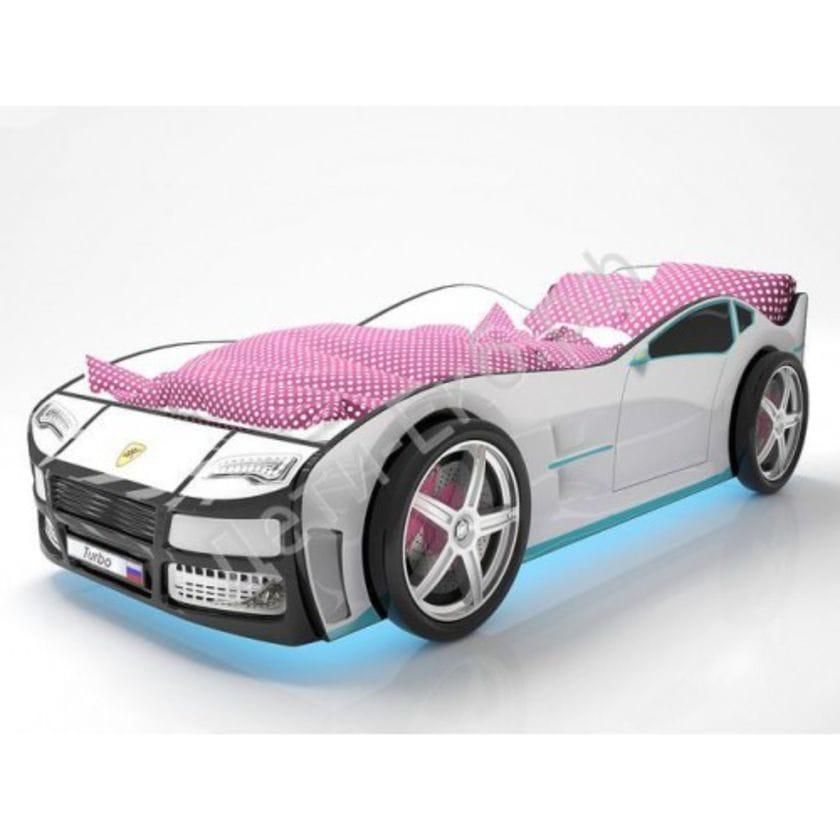 Кровать машина Турбо Белая