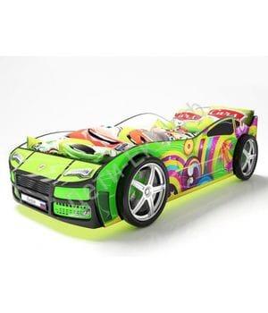 Кровать машина Турбо Зеленая