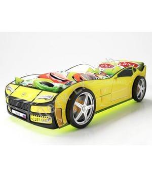 Кровать машина Турбо Желтая