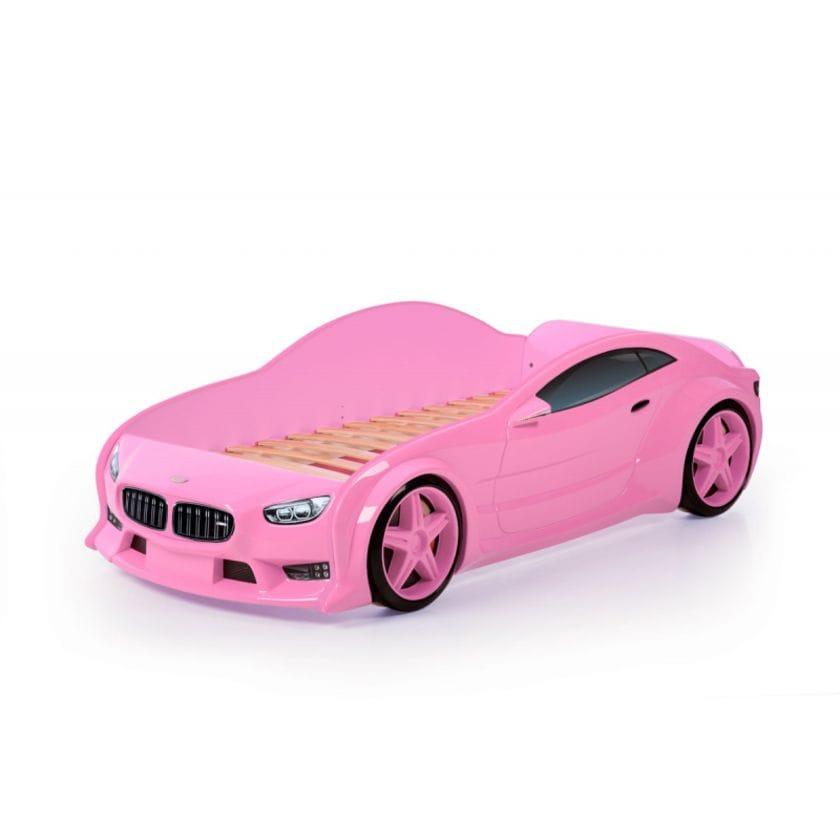 Кровать-машинка объемная (3d) EVO БМВ розовый