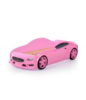 Кровать-машинка объемная (3d) EVO Тесла розовый