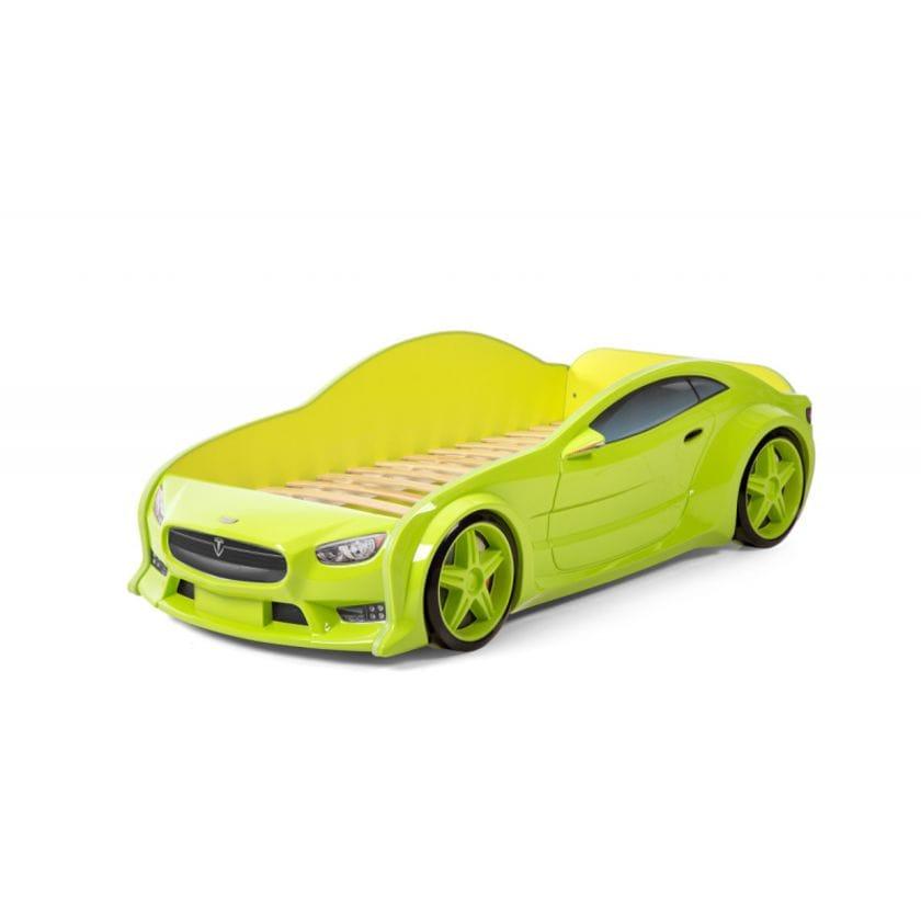 Кровать-машинка объемная (3d) EVO Тесла зеленый