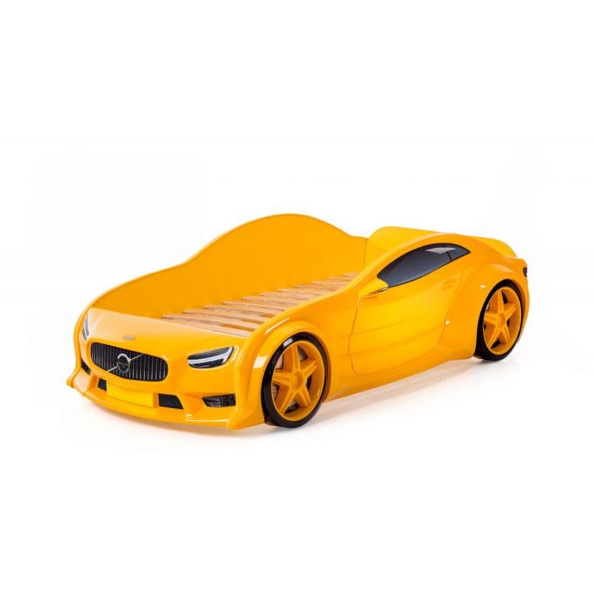 Кровать-машинка объемная (3d) EVO Вольво желтый