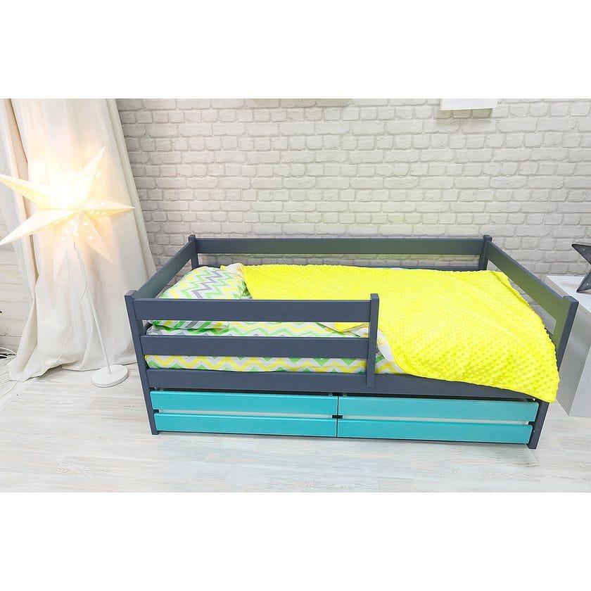 Кровать манеж Сонечка графит-лазурь