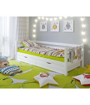 Детская кровать Сонечка одноярусная с задней защитой и ящиками
