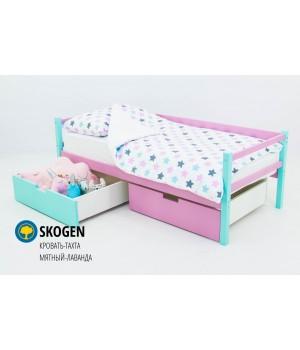 Детская деревянная кровать-тахта «Skoden мятный-лаванда»