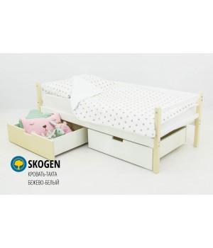 Детская деревянная кровать-тахта «Skoden бежево-белый»