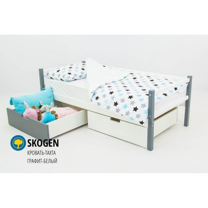 Детская деревянная кровать-тахта Svogen графит-белый