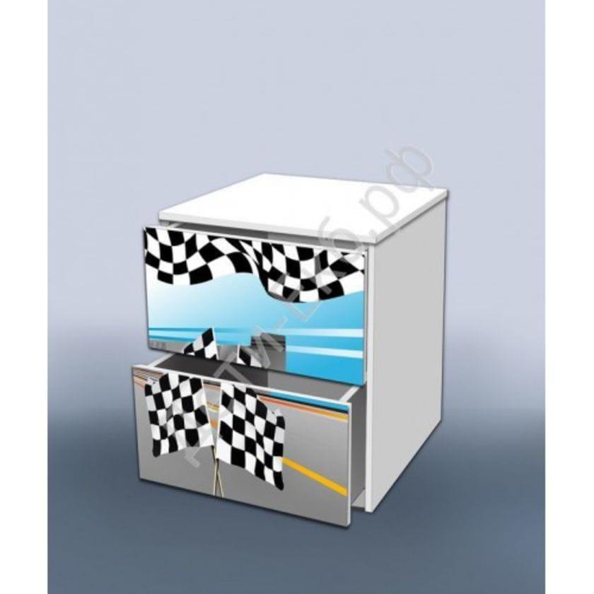 Тумба с ящиками Гонка голубая 2