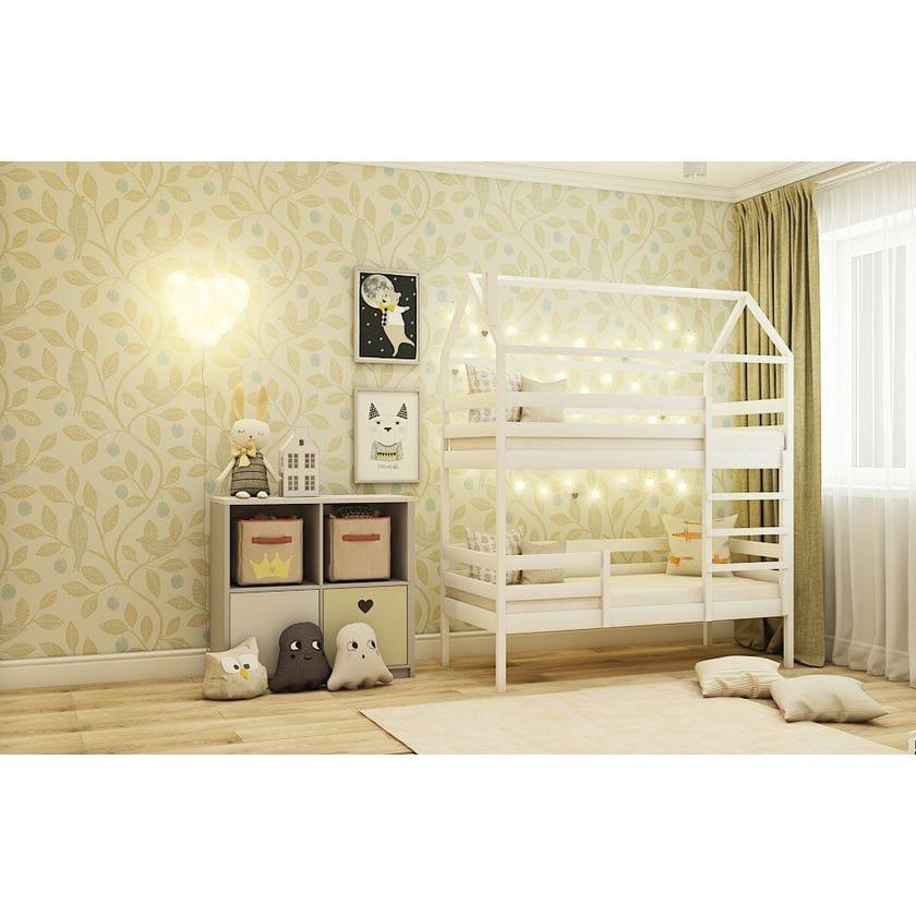 Кровать домик двухъярусная