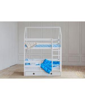 Кровать домик двухъярусная с ящиками звезды/сердечки