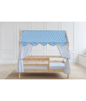 Кровать домик с горизонтальным бортиком (без покраски)