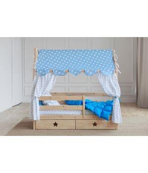 Кровать домик с ящиками (без покраски)