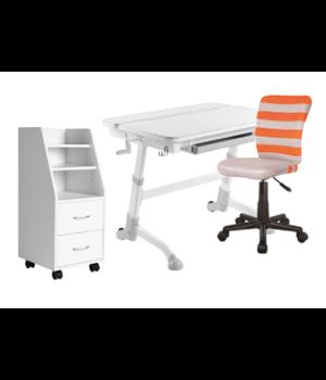 Комплект парта Volare grey + кресло LST9 orange + тумбочка SS15