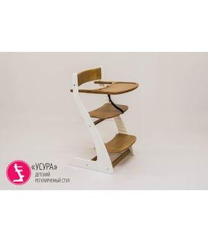 Детский регулируемый стул Урса белый/дерево